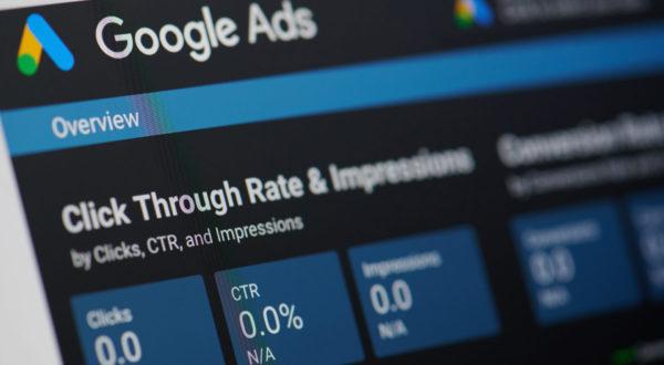 New york, USA - january 24, 2019: Google ads menu on device screen pixelated close up view